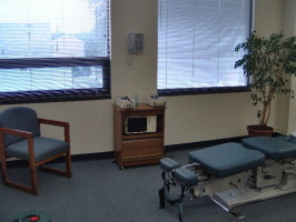 Photograph of the equipment in Dr. Weinstein's chiropractic practice.